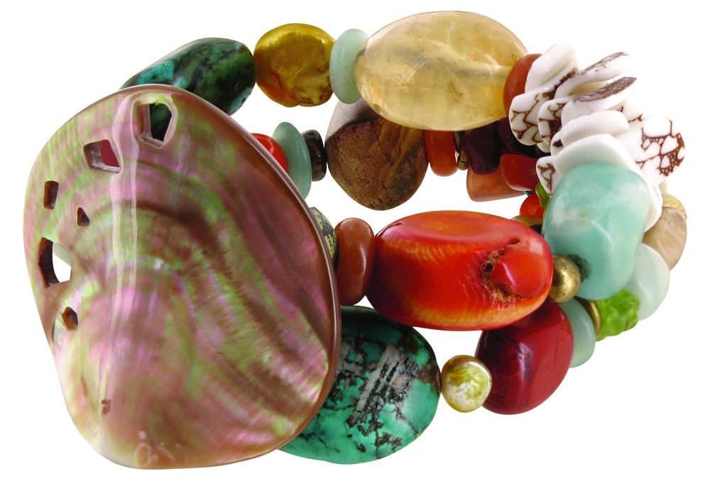 Браслет: перламутр, коралл, жемчуг (Nature Bijoux).