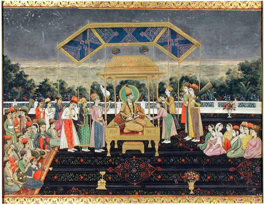 Надир-шах на Павлиньем троне после победы над Мухаммад Шахом. Очень скоро жестокий Надир-шах настолько опротивел своему окружению, что пал жертвой заговора в июне 1747 г.