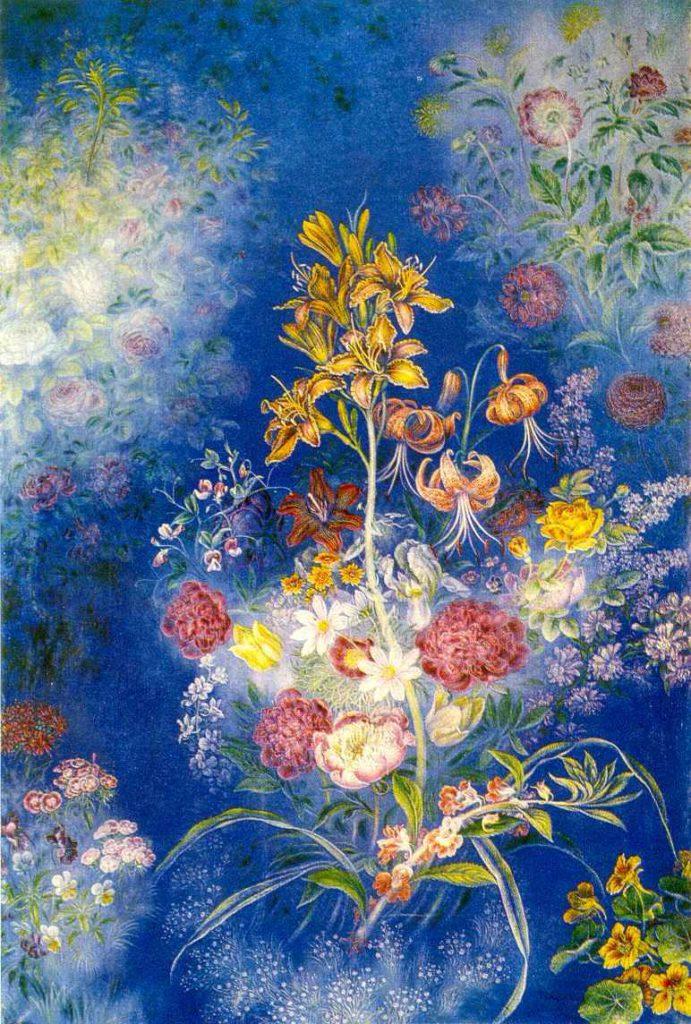 Квіти на синьому фоні. 1943