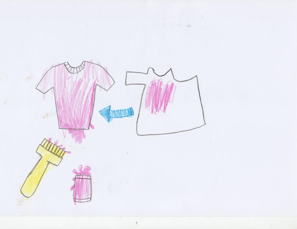 Чтобы убрать пятно с футболки, нужно её покрасить в другой цвет или в такой же.